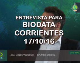 Entrevista para el programa Biodata – Corrientes 17/10/16